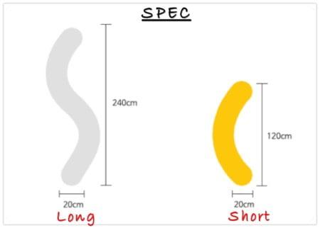 ヨギボーキャタピラロールショートとロングの大きさ比較