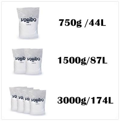 ヨギボーの正規補充ビーズ3サイズ詳細