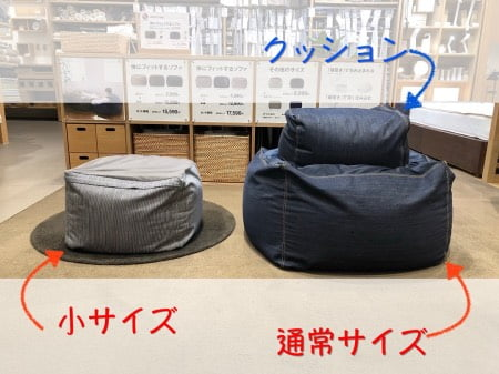 無印良品「体にフィットするソファ」(小)サイズと通常サイズの比較人をダメにするソファ
