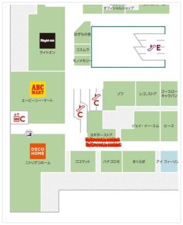 YogiboStore有明ガーデン店のある3階フロアマップ(拡大ver)