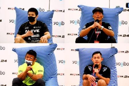 ヨギボーズーラソファに座るRIZIN選手たち