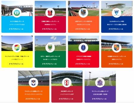 Yogibo WEリーグに参戦するクラブチーム一覧